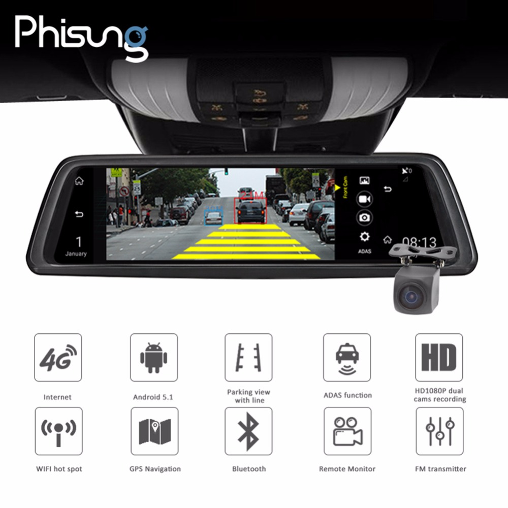 Phisung V9 10in Touch FHD 1080P Car DVR Camera DVRs Rear View Mirror Camera 4G WIFI Night Vision Android GPS Dual Lens Dash Cam iroad dash cam v9