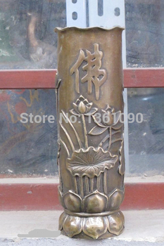 """xd 001258 6""""Luckly Chinese feng shui Bronze Lotus Buddhist incense cone cylindrical tube"""