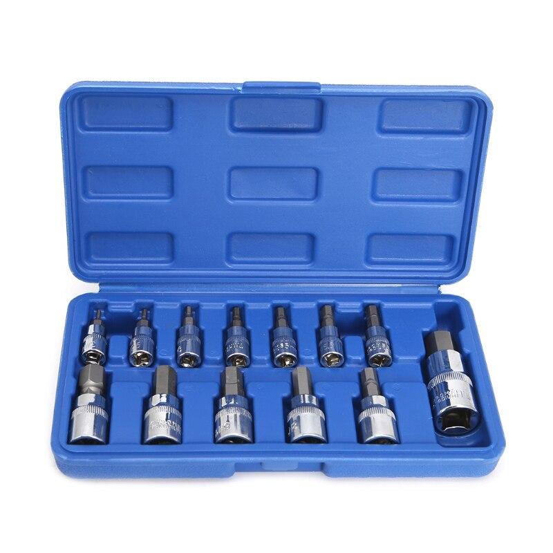 цена на 13Pcs/set Metric Allen Hex Ratchet Wrench 1/4 3/8 1/2 Drive Socket Tools