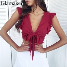 Glamaker Ruffle bow v neck plus size women camisole tank top Pink bandage winter crop top Female green fitness casual top tee