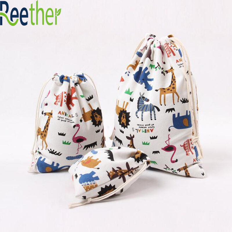 Reether Small Size Drawstring Canvas Bag Storage Wedding Favor Candy Packing Bags For Gifts Mini Beads Bag Festive Pouches candy cane patterned drawstring gift bag storage backpack