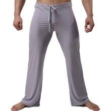 Сексуальные мужские длинные штаны полная длина мягкий светильник ночное белье Ночные трусы Сексуальная Домашняя одежда брюки длинные брюки свободные мужские брюки
