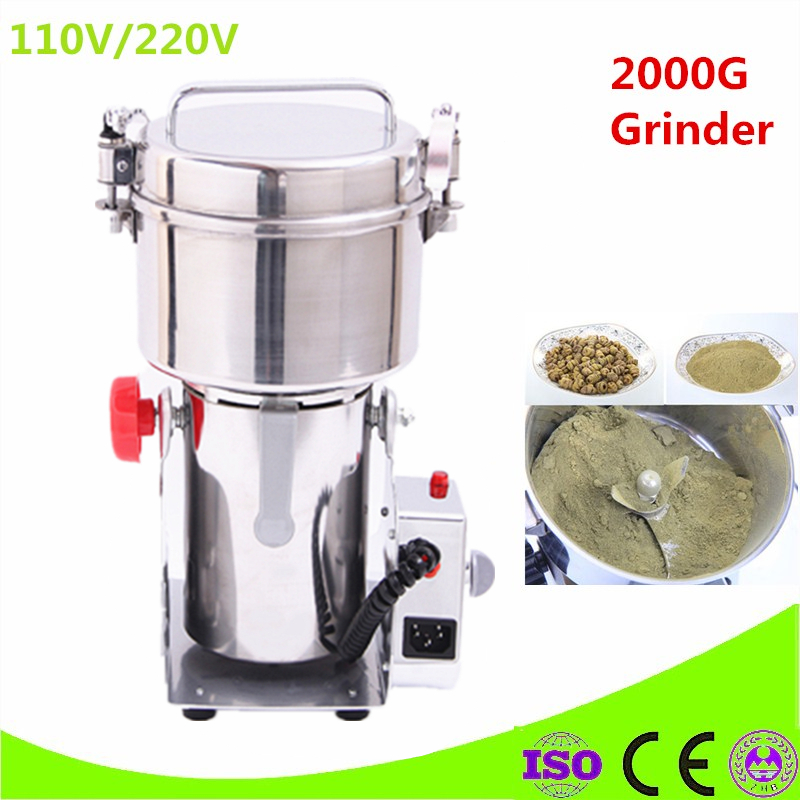 Cheap Price Swing Type 2000g Portable Grinder Herb Flood Flour Pulverizer Food Mill Grinding Machine For Sale chinese supplier stainless steel 2000g 2kg household electric swing grinder mill small powder machine food grinding machine