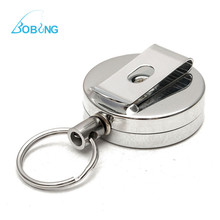 Bobing 2Pcs/lot 65cm String Stainless Metal Fly Fishing Zinger Retractable Reel Wire Retractor Tying Instrument Clip