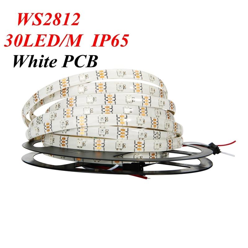 5M White Black PCB 30 led/M 150led WS2812B ws2812 2812 WS2812b IC 5050 RGB LED Strip Light Dream Color Waterproof DC 5V 4PIN matek 8 bit ws2812b rgb 5050 highlight led for naze32 cc3d