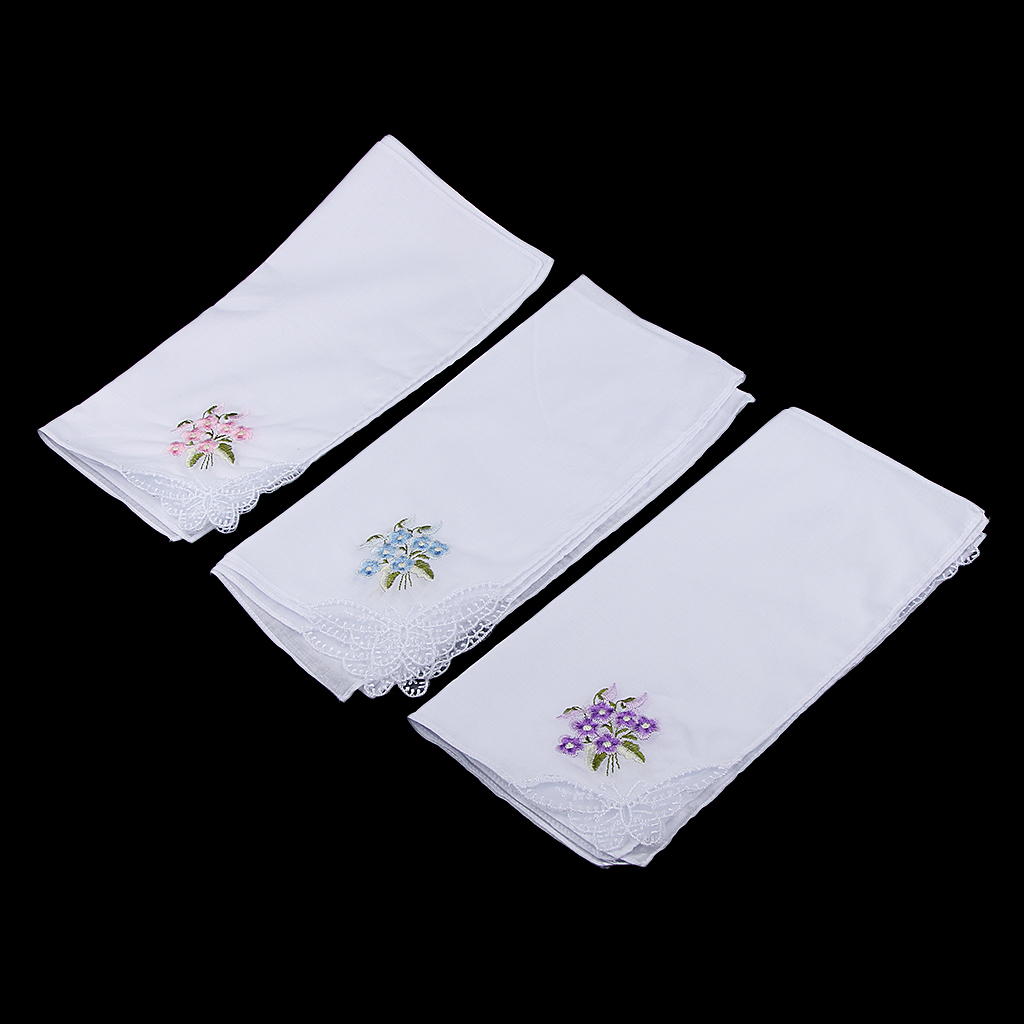 Pack Of 12 Vintage Women's Elegant Flower Embroidery 100% Cotton Handkerchiefs Soft Hanky Women's Pocket Square Handkerchiefs