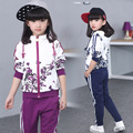 2016 бренда ребенка детский с длинным рукавом комплект одежды С Капюшоном пальто + брюки девушки дети спортивный костюм весна осень 6-14yrs