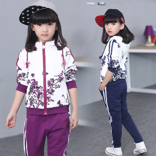 2016 brand baby children's long sleeve clothing set Hooded coat +pants girls kids sport suit spring autumn 6-14yrs