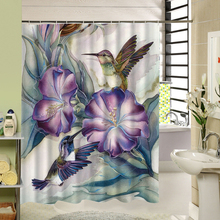 3D Printed Waterproof Art Flower Fabric Shower Curtain Red Purple For Bath Screen Decor Bathroom Products with 12pcs Hooks