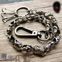 Hip Hop Gothic Style Men's Skeleton Black Waist Accessories Wallet Chain Biker Trucker Keychain Punk Wide Heavy Jeans Chain DR51