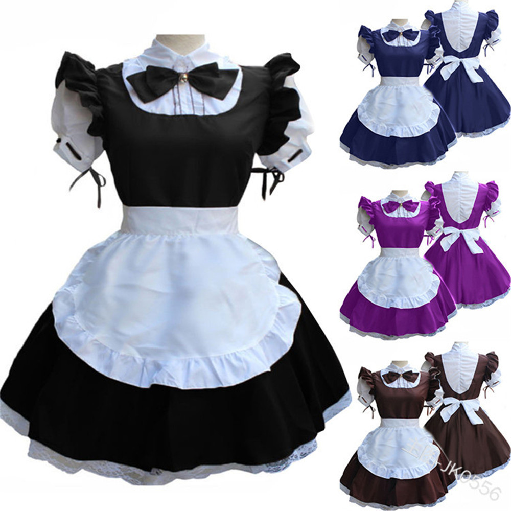 Women Ladies Fashion Short Sleeve Doll Collar Retro Maid Dress Cute French Maid Outfit Cosplay Costume