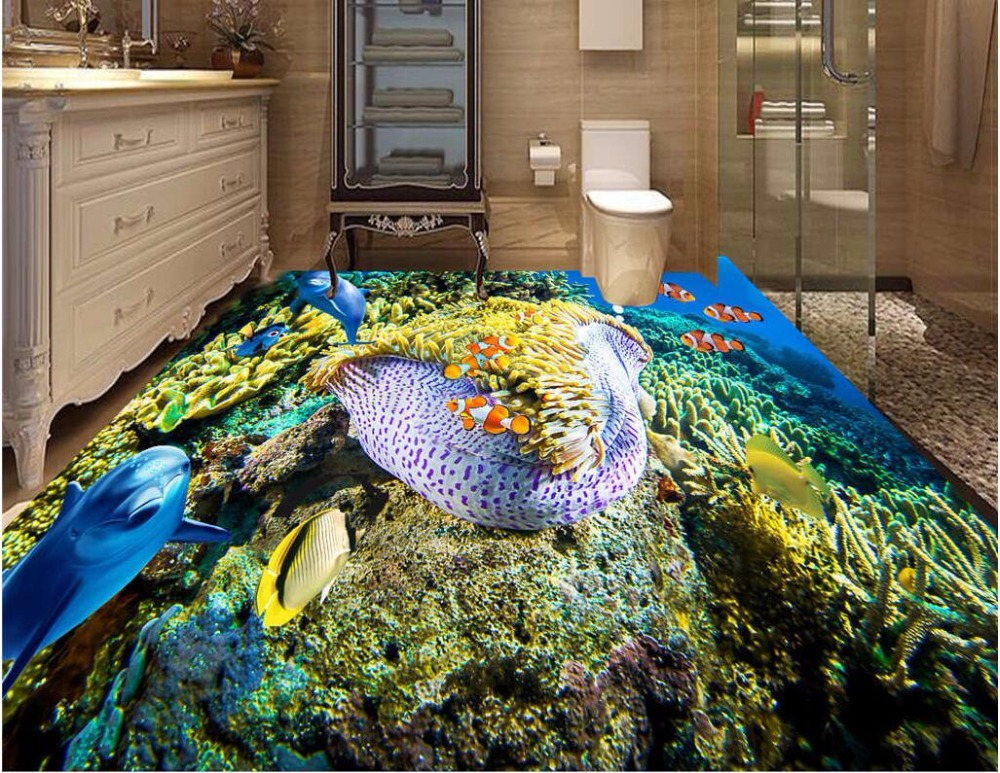 Custom photo 3d pvc flooring self adhesion wall paper sticker Dolphins coral fish bedroom painting wallpaper for walls 3 d