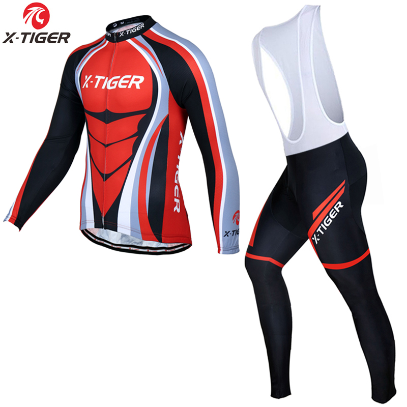X-Tiger Quick-dry Long Sleeve Cycling Jerseys Set Spring MTB Bike Clothing Uniform Racing Bicycle Clothes Maillot Ropa Ciclismo