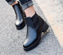 2019 new Hot style Fashion women boots Round head thick bottom PU leather waterproof woman New boots(China)