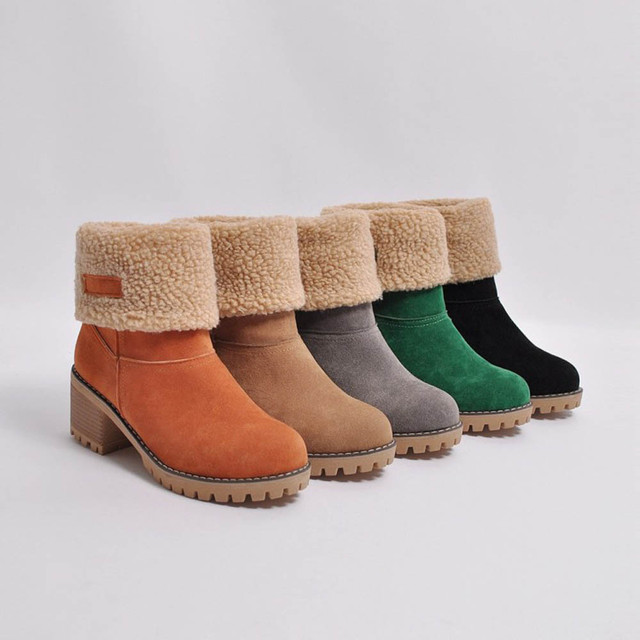 Women's Boots Ladies Winter Round Toe Shoes Flock Warm Martin Slip-On Snow Boots Outdoor PU Leather Short Bootie T#