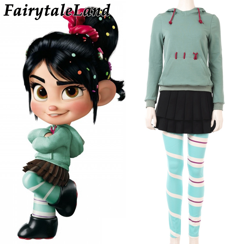 Wreck-It Ralph Vanellope Cosplay Costume Fancy Cosplay Wreck-It Ralph Costume Vanellope Halloween Costumes Custom made