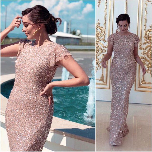 Bling Bling New Mermaid   Evening     Dress   2018 Summer Scoop Short Sleeves Floor Length Crystal Beading Prom   Dresses   Vestido longo