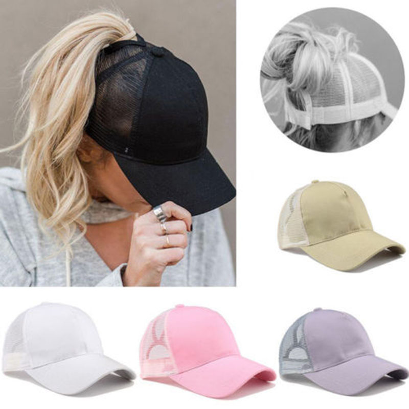 New Arrivals Outdoor Sunshade Ponytail Baseball Cap Tennis Cap Women Messy Bun Baseball Hat Snapback Drop Shipping