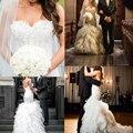 Steven Khalil boda 2015 vestido de lujo tribunal tren plisado de encaje apliques de perlas vestido de novia de largo