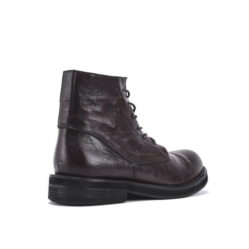 Рабочие ботинки из натуральной кожи в стиле ретро; мужские зимние кроссовки на шнуровке; роскошные кроссовки в британском стиле с высоким берцем; ботинки для верховой езды; повседневная обувь - 4