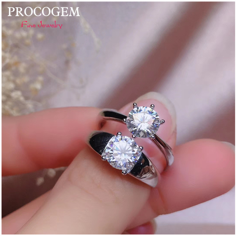 Natural Moissanite Rings 6.5mm 1Ct VVS Hearts and arrows Women Men Lovers Bride Rings 925 Sterling silver fine Jewelry #535Natural Moissanite Rings 6.5mm 1Ct VVS Hearts and arrows Women Men Lovers Bride Rings 925 Sterling silver fine Jewelry #535