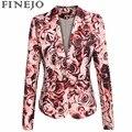 FINEJO Моды Цветочный Печати Куртка Европейский Стиль Женщины Одной Кнопки Нагрудные Пальто Наплечный Slim Пиджаки Топы S-2XL