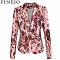 FINEJO Fashion Floral Printing Jacket European Style Women Single Button Lapel Coat Padded Shoulder Slim Outwear Tops S-2XL