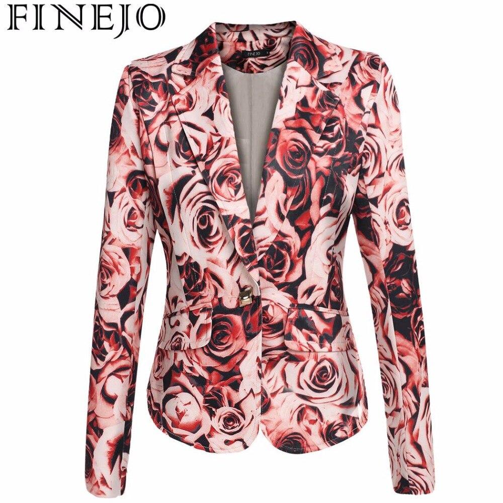 FINEJO Fashion Floral Printing Jacket European Style Women Single Button Lapel Coat Padded Shoulder Slim Outwear Tops S-2XL