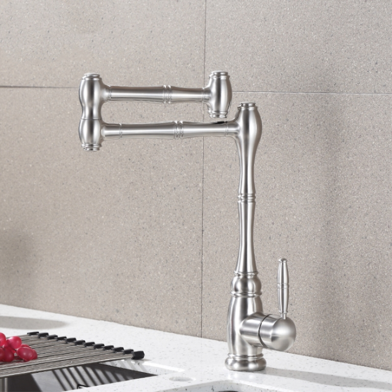 European High Quality Folding Kitchen Faucet Household Sink Faucet Hot and Cold Mixing Valve 304 Stainless Steel Rotating Tap - 2