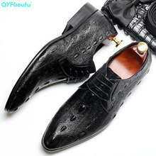 QYFCIOUFU 2019 Men Dress Shoes Formal Genuine Leather Shoes Brand Luxury Business Office Men's Flats Oxfords Crocodile Pattern brand crocodile pattern shoes oxfords 100