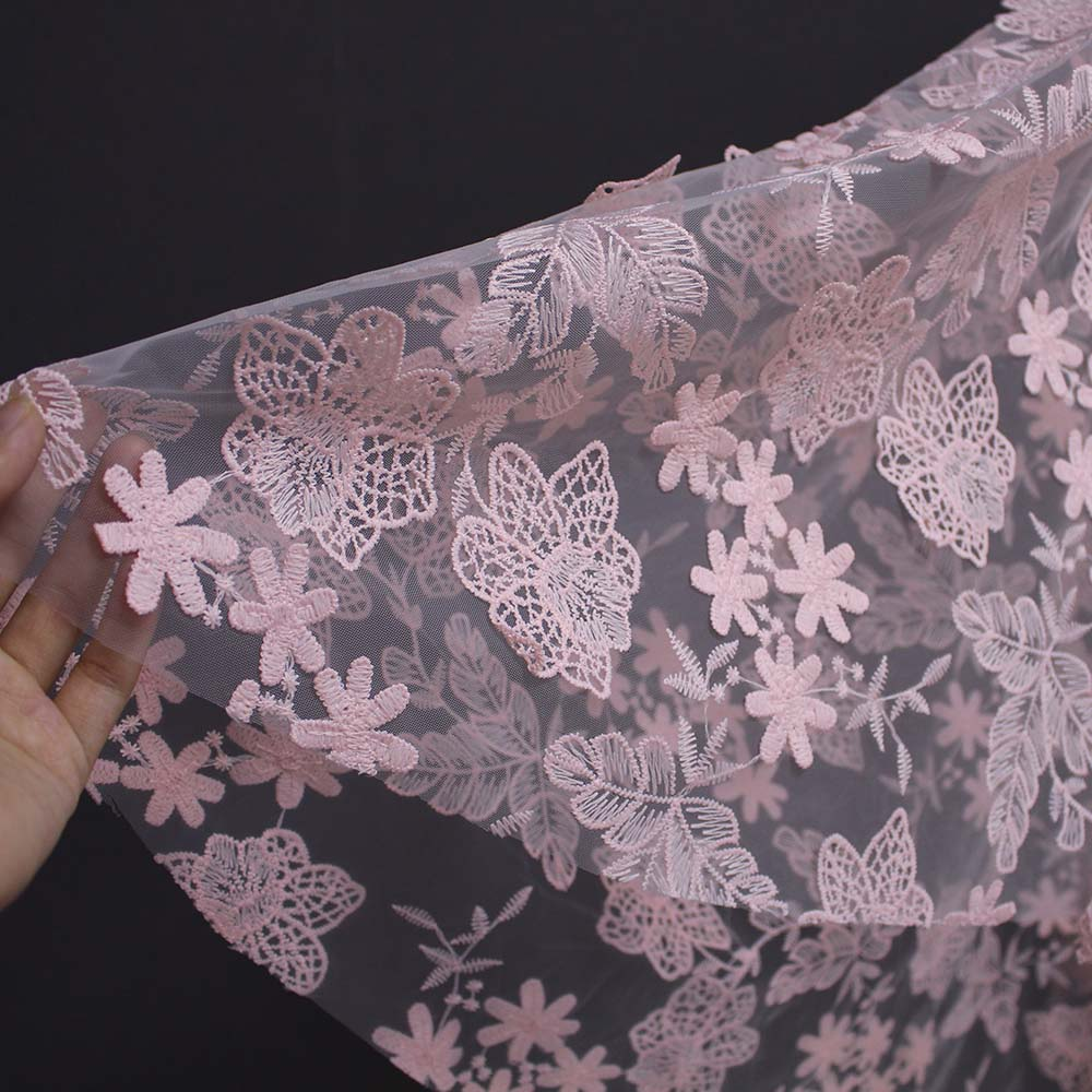 Real Photos Pink Flower Leaf Lace Short Wedding Veil WITHOUT Comb One Layer Cover Face Bridal Veil Velo De Novia in Bridal Veils from Weddings Events