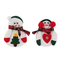 2016 2pcs Xmas Decor Snowman Kitchen Tableware Holder Pocket Dinner Cutlery Bag Stock Snowman Cutlery Bag fork knife storage bag