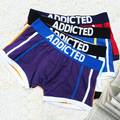 5PCS/LOT Cotton&Spandex ES ADDICTED Men's Patchwork Boxers Striped Underwear Gay Shorts S M L XL 4 Colors Blue/White/Red/Purple