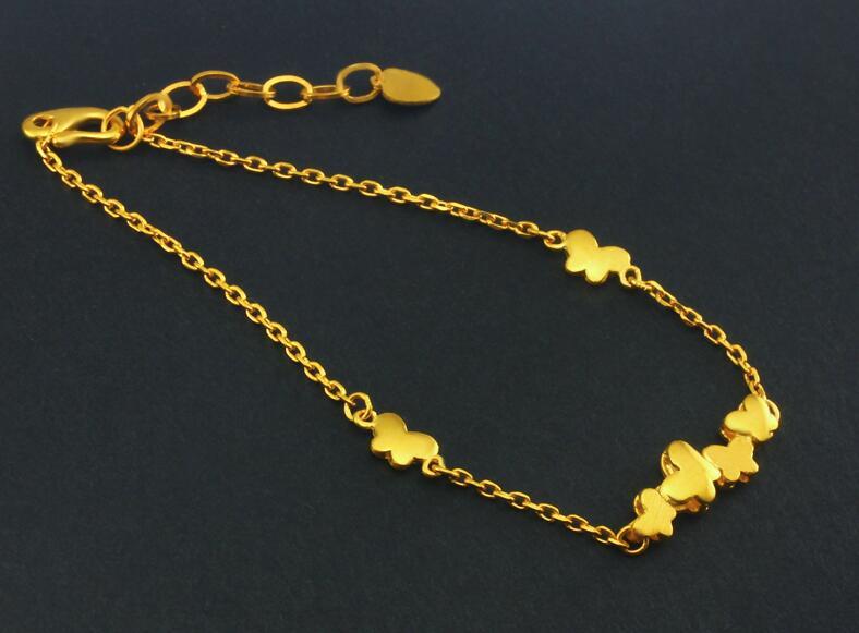 Nuovo Arrivo 999 Solido 24 K Oro Giallo Farfalla Braccialetto di Collegamento - 4