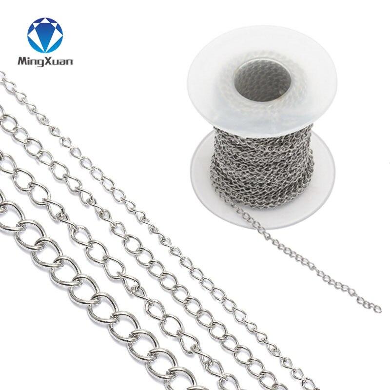 10 Mt/rolle Edelstahl 1,8mm 2,5mm 3mm 4,2mm Breite Silber Ton Metall Link Kette Für Diy Halsketten Armbänder Schmuck Machen