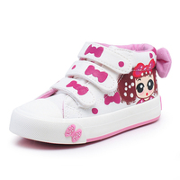 Hand Printed Cute Carton Canvas Girls Shoes,2018 New Children Girl Princess Shoe Fashion Kids Canvas Sneakers for Girls Baby