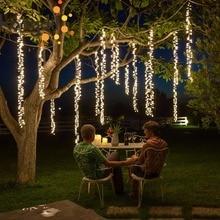 4x2.5m לחיבור led racimos חתונת מחרוזת אורות חג המולד פיות אור led גרלנד חיצוני עבור מסיבת גן עץ פאטיו דקור