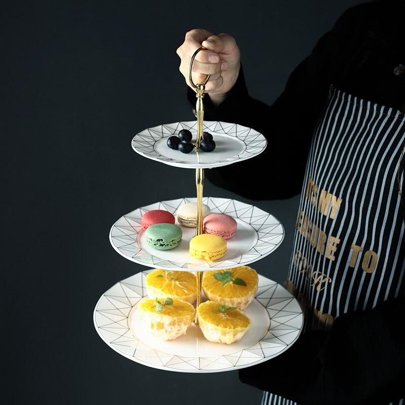 Incrustation en or Europe os porcelaine fruits | Assiettes à Snack, assiette à gâteau plat à bonbons, plateau en porcelaine, vaisselle en céramique décoration