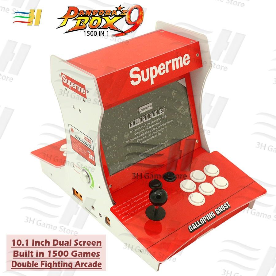 Double combat bartop arcade mini machine d'arcade 10.1 pouces Double écran intégré Pandora Box 9 1500 jeux 2 joueurs Plug and play