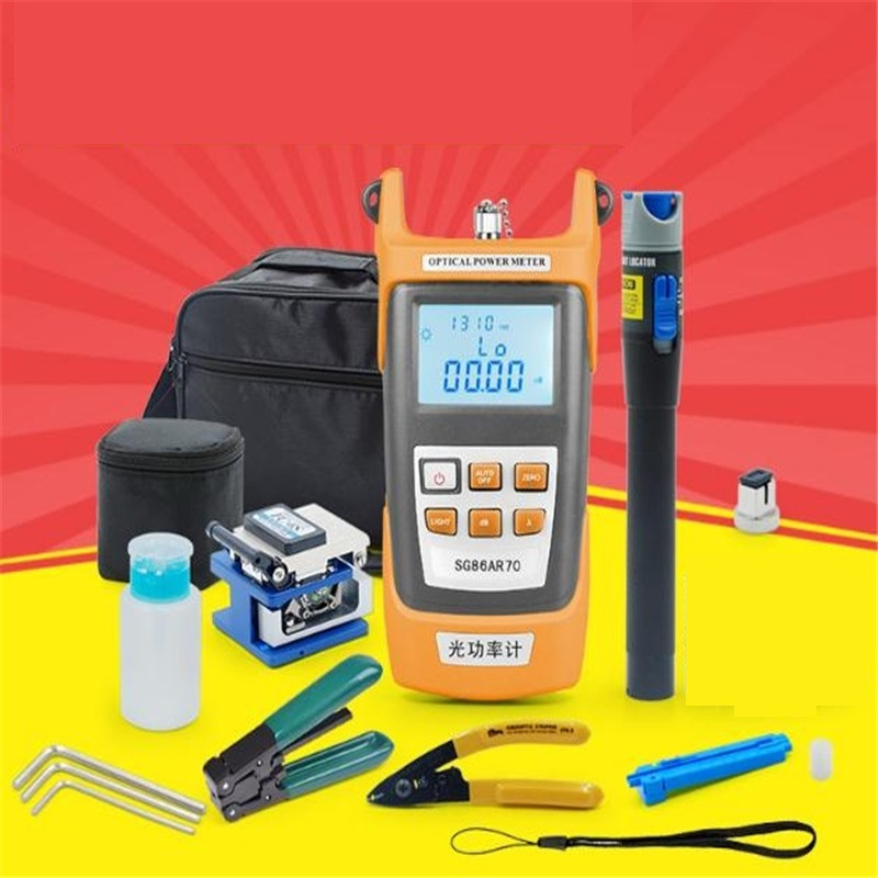 FTTH cold junction kit leather cable tool set optical power meter 5KM red light pen, Fiber cleaver