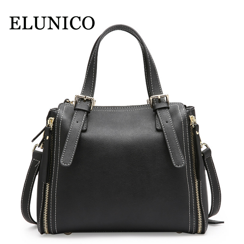 ELUNICO Brand New Split Leather Women Handbag Fashion Portable Shoulder Messenger Bag Ladies Casual Tote Bags Bolsas Sac A Main bolsas femininas women s handbag women shoulder bag pu leather casual fashion messenger bags femme sac a main beige
