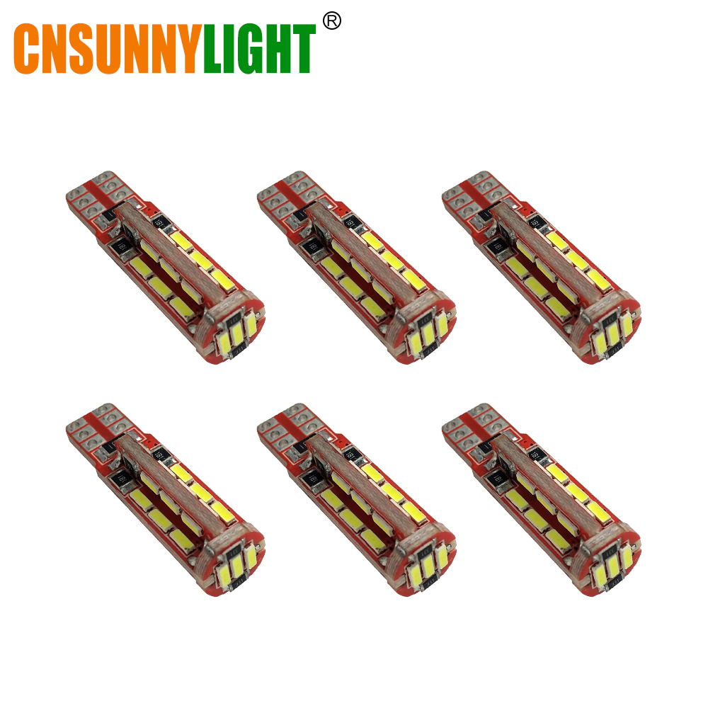 CNSUNNYLIGHT 6pcs LED Car Lights T10 168 192 4014 W5W 27SMD Led CANBUS NO Error Car Marker Parking Light Side Signal Bulbs 2x 12v canbus t10 car led bulb 194 168 192 w5w 4014 smd 78 led t10 canbus auto error free side wedge light clearance lights lamp