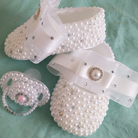 rhinestone baby Shoes handmade pearl rhinestone Crystal baby toddler bling pacifier kids fashion baby girl First Walkers shoes