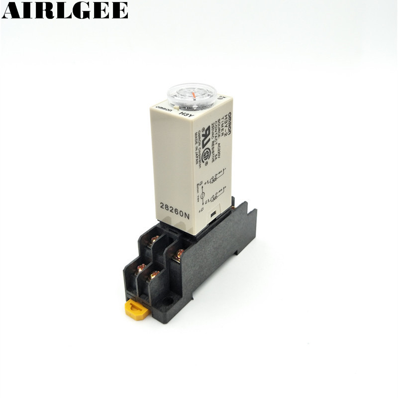 AC 220V 0-60 Minute 60m Timer Power On Delay Time Relay 8 Pin H3Y-2 w Socket 5 pieces h3y 2 power on time delay relay solid state timer max 30m 220vac dpdt