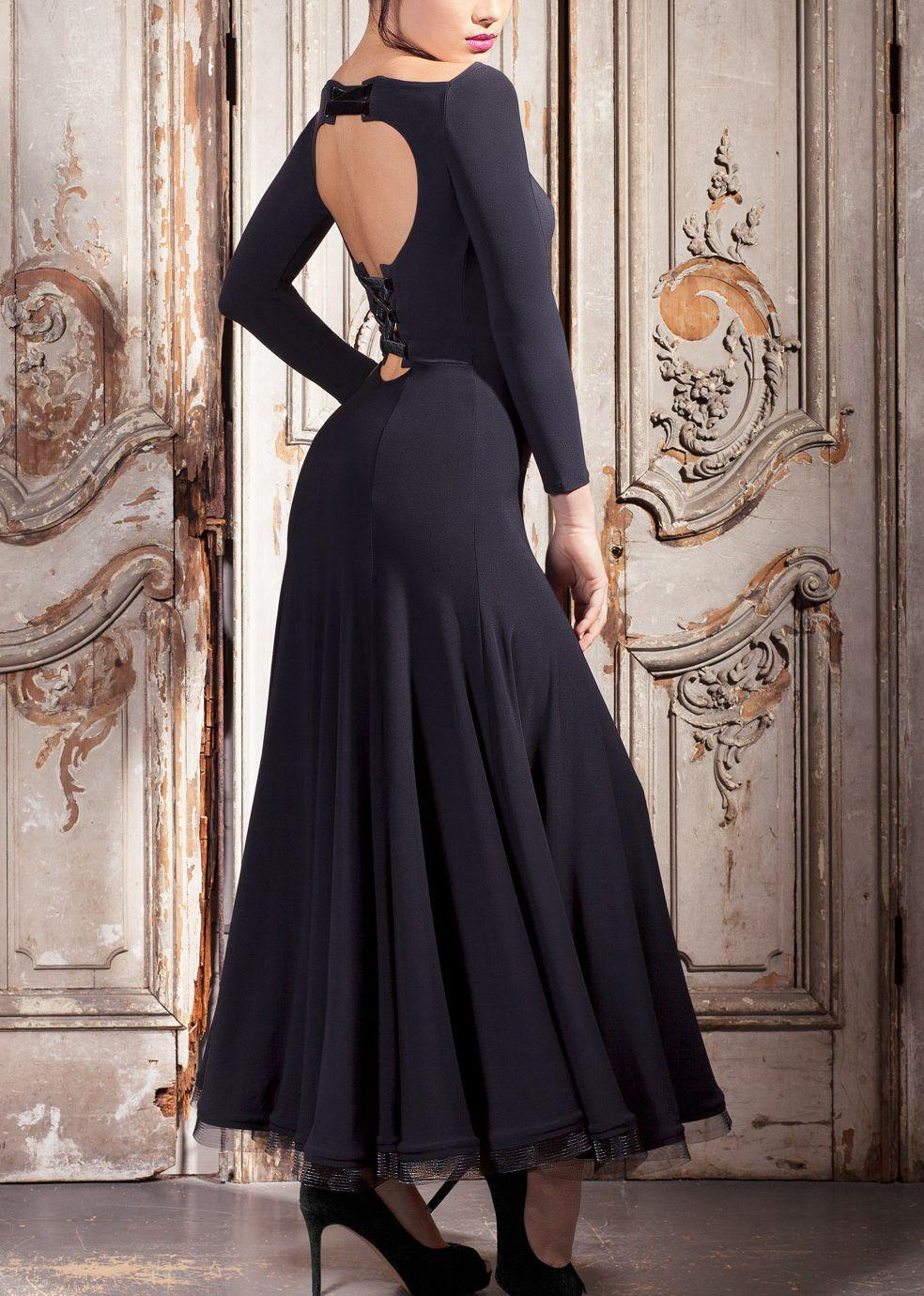 Ballroom dance dress one piece dancing dress custom made W17030 backless ruffle waist dress