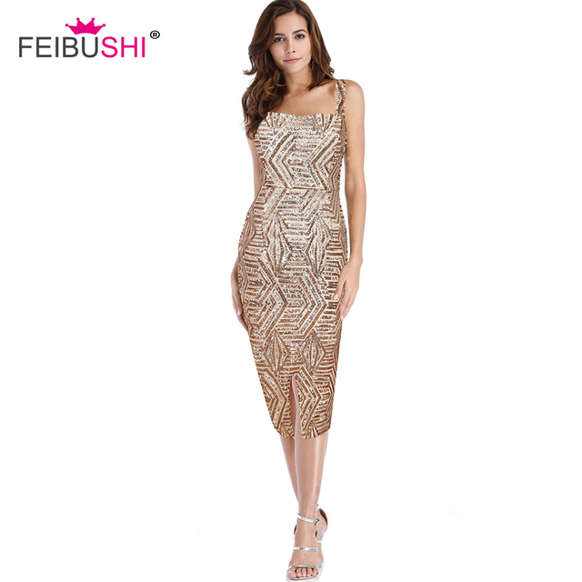 c2322263ee2 FEIBUSHI Hot Sale Women 2018 Bodycon Dresses Sexy Club Dress Gold Nude Sequin  Dress Gold Sequined Evening Party Dress