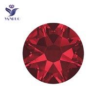 YANRUO #2088HF SS20 Siam 1440Pcs 8 Big Small Flatback Hot Fix Crystal Rhinestone Adhesive Strass Hotfix Iron On Garment
