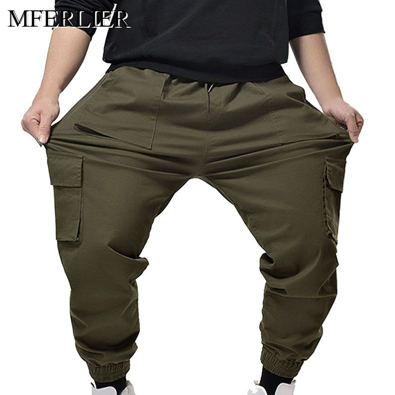 MFERLIER Autumn Spring Men Pants 5XL 6XL 7XL Waist 150cm Weight 150kg Long Pants Men 2 Colors