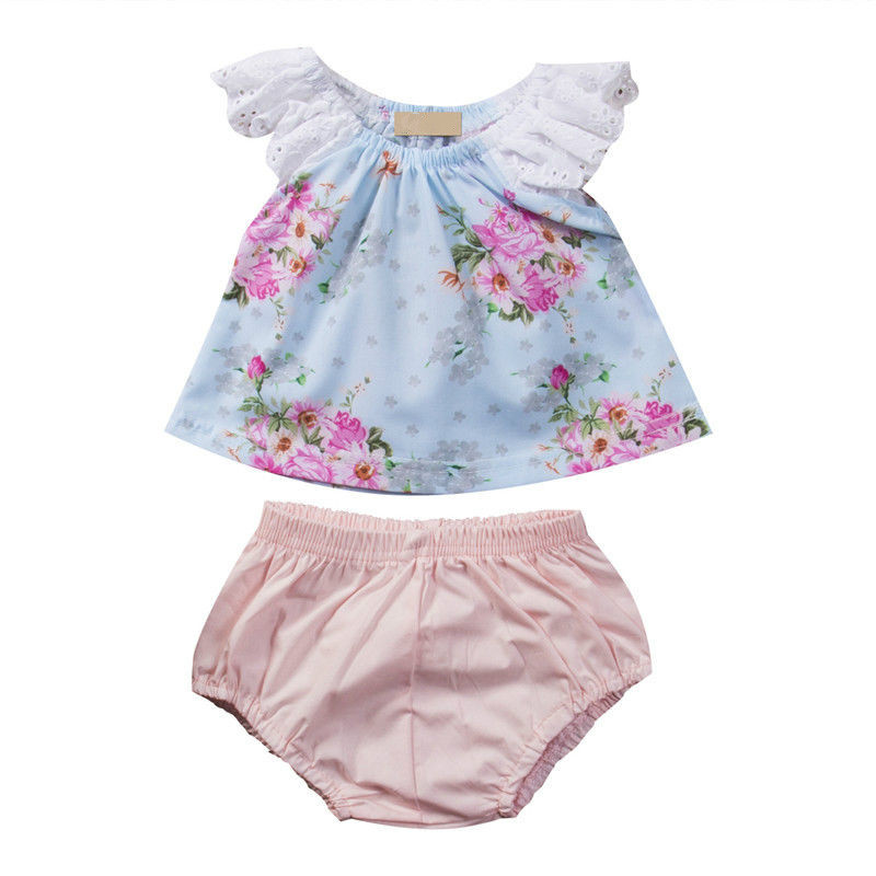 Hot Sale 2pcs Sweet Set Newborn Toddler Baby Girls Fashion Outfits Lace Sleeve Tops Floral T-shirt Solid Shorts Outfits Clothes