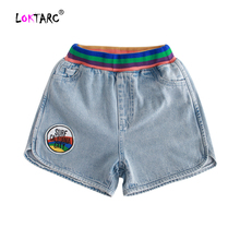 LOKTARC/Детские шорты для девочек, джинсовые шорты для серфинга, короткие джинсы в полоску с карманами, летние шорты для малышей